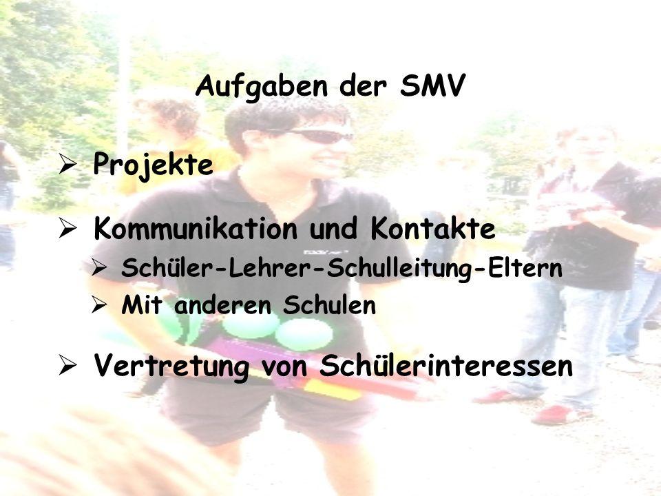 Aufgaben der SMV Projekte Kommunikation und Kontakte Schüler-Lehrer-Schulleitung-Eltern Mit anderen Schulen Vertretung von Schülerinteressen