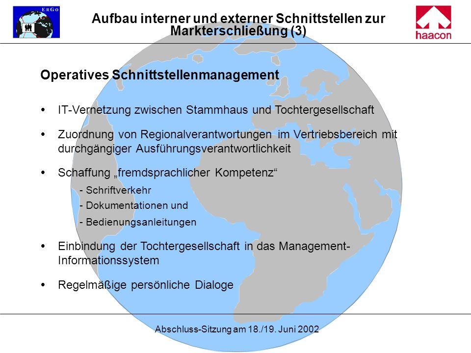 Abschluss-Sitzung am 18./19. Juni 2002 Operatives Schnittstellenmanagement IT-Vernetzung zwischen Stammhaus und Tochtergesellschaft Zuordnung von Regi