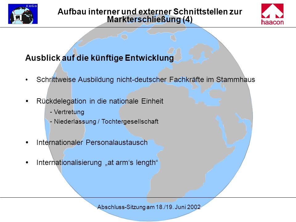 Abschluss-Sitzung am 18./19. Juni 2002 Ausblick auf die künftige Entwicklung Schrittweise Ausbildung nicht-deutscher Fachkräfte im Stammhaus Rückdeleg