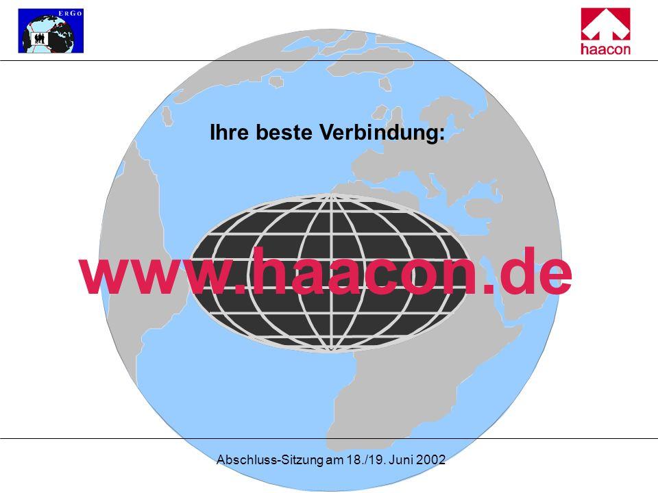 Abschluss-Sitzung am 18./19. Juni 2002 Ihre beste Verbindung: www.haacon.de