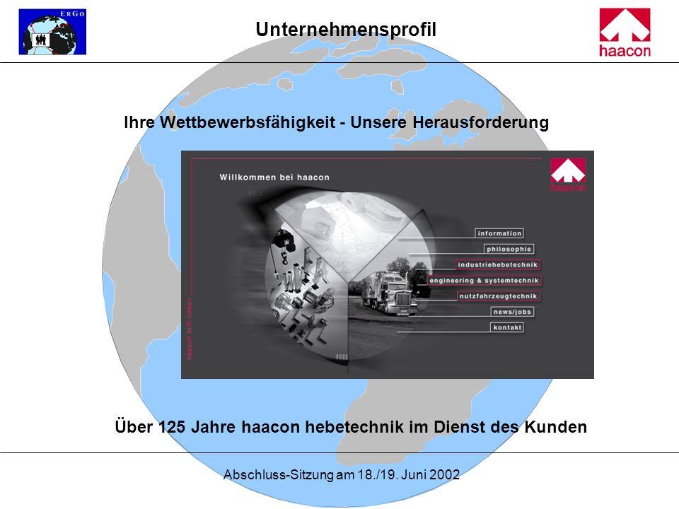 Abschluss-Sitzung am 18./19. Juni 2002 Ihre Wettbewerbsfähigkeit - Unsere Herausforderung Über 125 Jahre haacon hebetechnik im Dienst des Kunden Unter