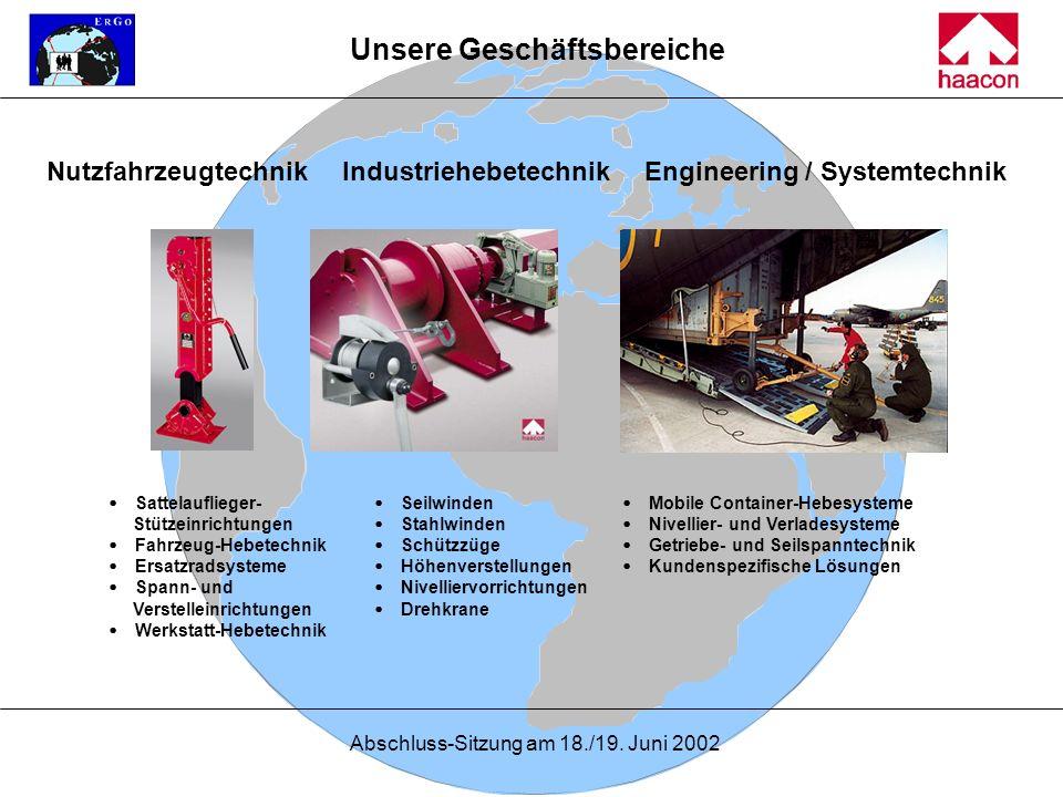 Abschluss-Sitzung am 18./19. Juni 2002 Unsere Geschäftsbereiche Nutzfahrzeugtechnik Seilwinden Stahlwinden Schützzüge Höhenverstellungen Nivelliervorr