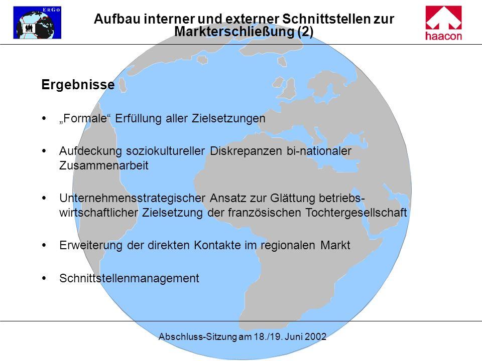 Abschluss-Sitzung am 18./19. Juni 2002 Ergebnisse Formale Erfüllung aller Zielsetzungen Aufdeckung soziokultureller Diskrepanzen bi-nationaler Zusamme