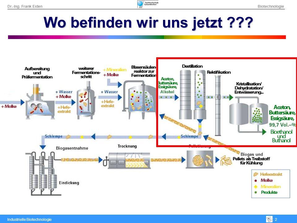 Dr.-Ing. Frank Eiden Biotechnologie Industrielle Biotechnologie: 2 Biogas und Biogasentnahme Wo befinden wir uns jetzt ???