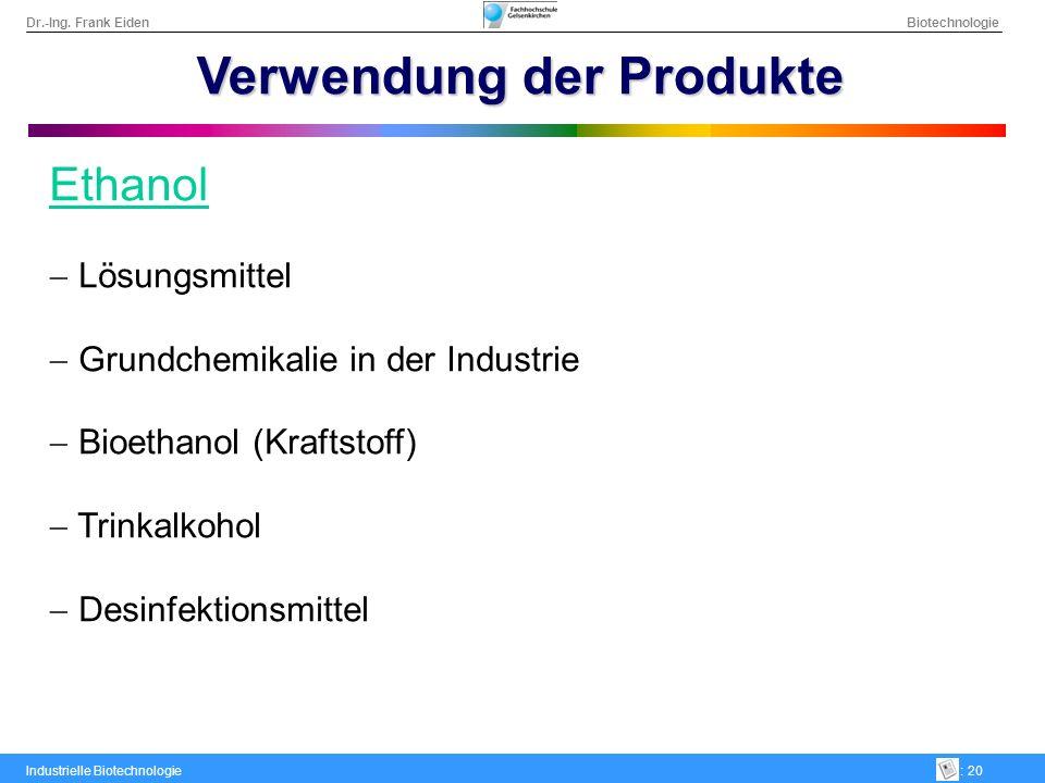 Dr.-Ing. Frank Eiden Biotechnologie Industrielle Biotechnologie: 20 Verwendung der Produkte Ethanol Lösungsmittel Grundchemikalie in der Industrie Bio