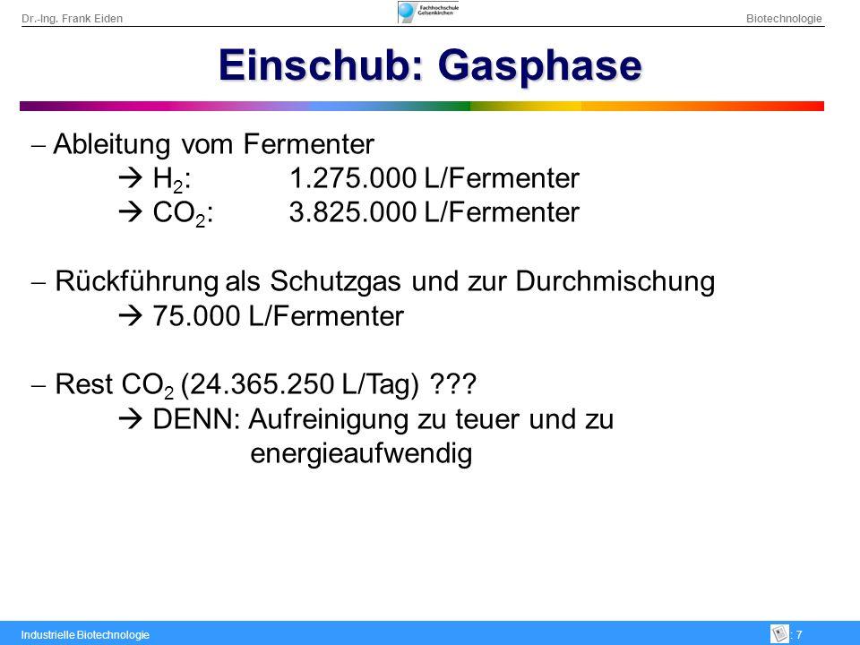 Dr.-Ing. Frank Eiden Biotechnologie Industrielle Biotechnologie: 7 Einschub: Gasphase Ableitung vom Fermenter H 2 :1.275.000 L/Fermenter CO 2 :3.825.0