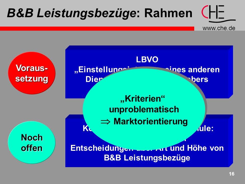www.che.de 17 B&B Leistungsbezüge: HöheWeichen- stellung 4 Pauschalen Integration in Stufen- Modell + Handhabung + Kalkulierbarkeit - Flexibilität - Spielräume + Flexibilität + Gleichberechtigte Wege zu L.b.