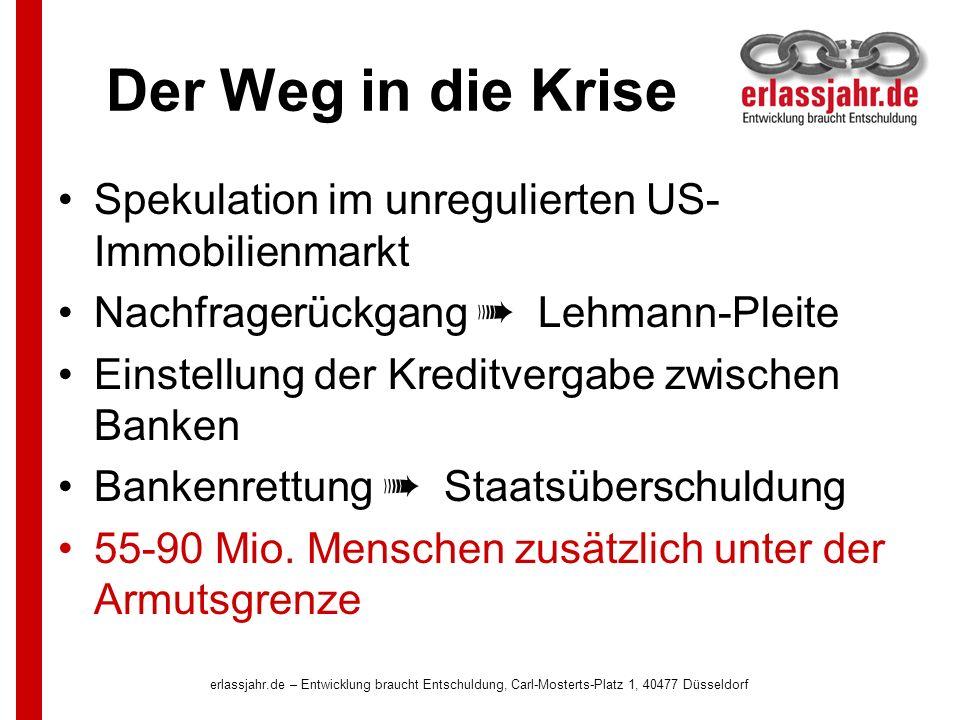 erlassjahr.de – Entwicklung braucht Entschuldung, Carl-Mosterts-Platz 1, 40477 Düsseldorf Der Weg in die Krise Spekulation im unregulierten US- Immobilienmarkt Nachfragerückgang Lehmann-Pleite Einstellung der Kreditvergabe zwischen Banken Bankenrettung Staatsüberschuldung 55-90 Mio.