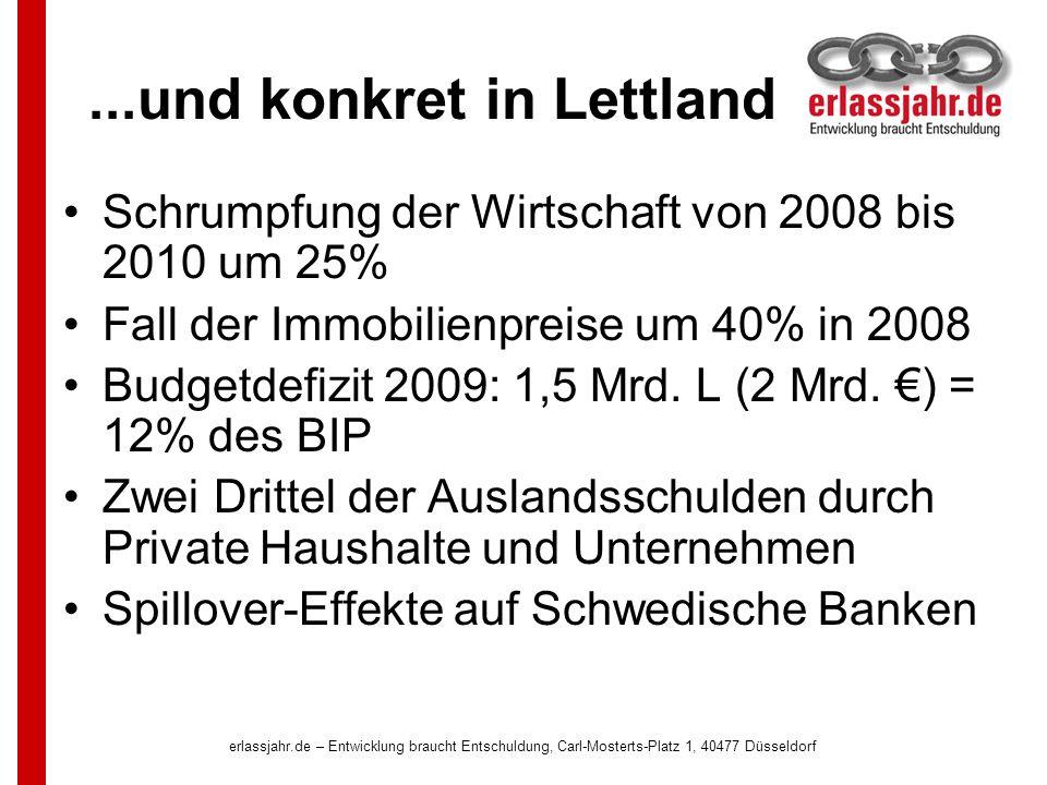 erlassjahr.de – Entwicklung braucht Entschuldung, Carl-Mosterts-Platz 1, 40477 Düsseldorf...und konkret in Lettland Schrumpfung der Wirtschaft von 2008 bis 2010 um 25% Fall der Immobilienpreise um 40% in 2008 Budgetdefizit 2009: 1,5 Mrd.