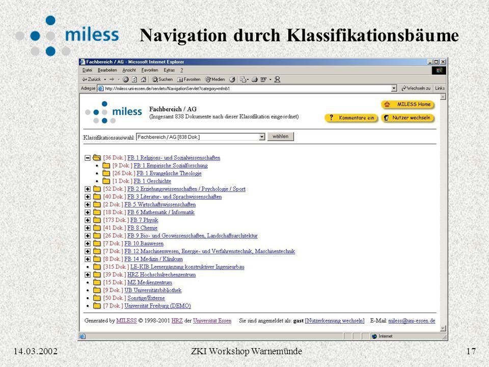 1614.03.2002ZKI Workshop Warnemünde Klassifikations- bäume können in MILESS integriert geladen werden Navigation durch die Hierarchie, Suche in der Hierarchie Volltextsuche im Klassifikationssystem zum Auffinden von Kategorien ( z.