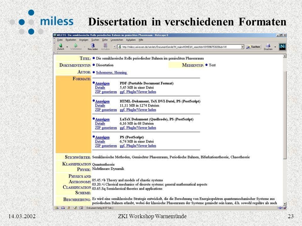 2214.03.2002ZKI Workshop Warnemünde Applet für Autoren: Einstellen / Ändern