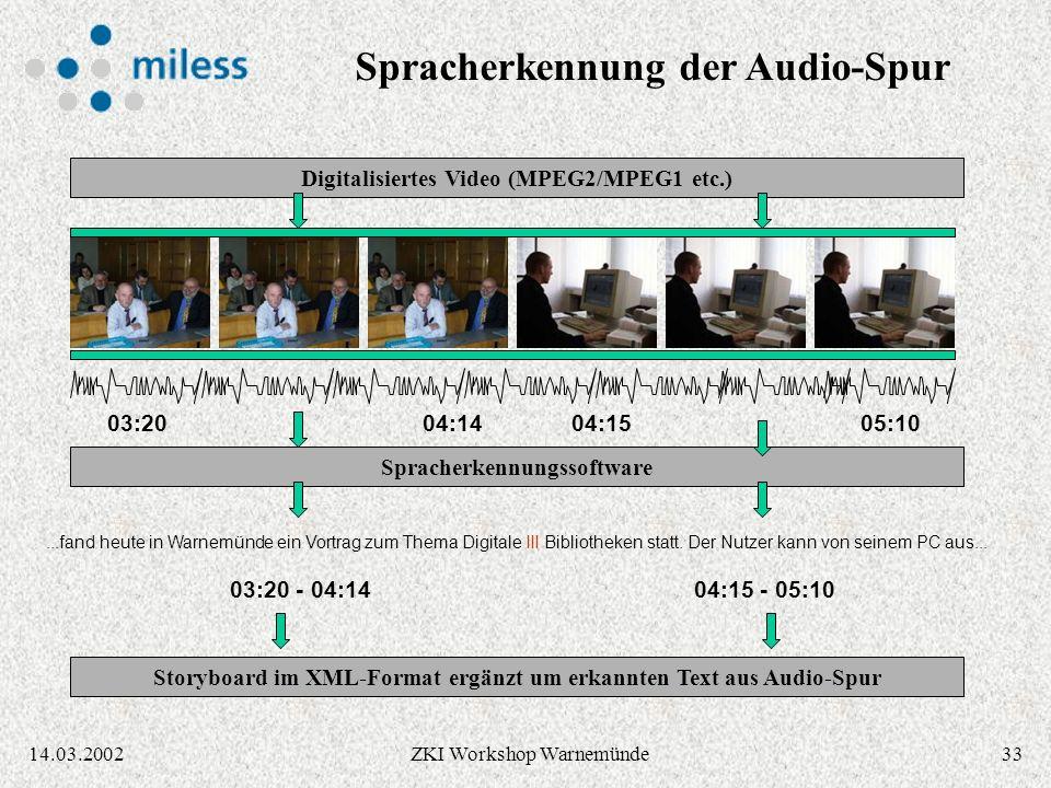 3214.03.2002ZKI Workshop Warnemünde Generierung eines Storyboards 03:2004:1505:1004:14 03:20 - 04:1404:15 - 05:10 Scene change detection / Keyframe extraction Storyboard im XML-Format + Keyframes im JPEG-Format Digitalisiertes Video (MPEG2/MPEG1 etc.)