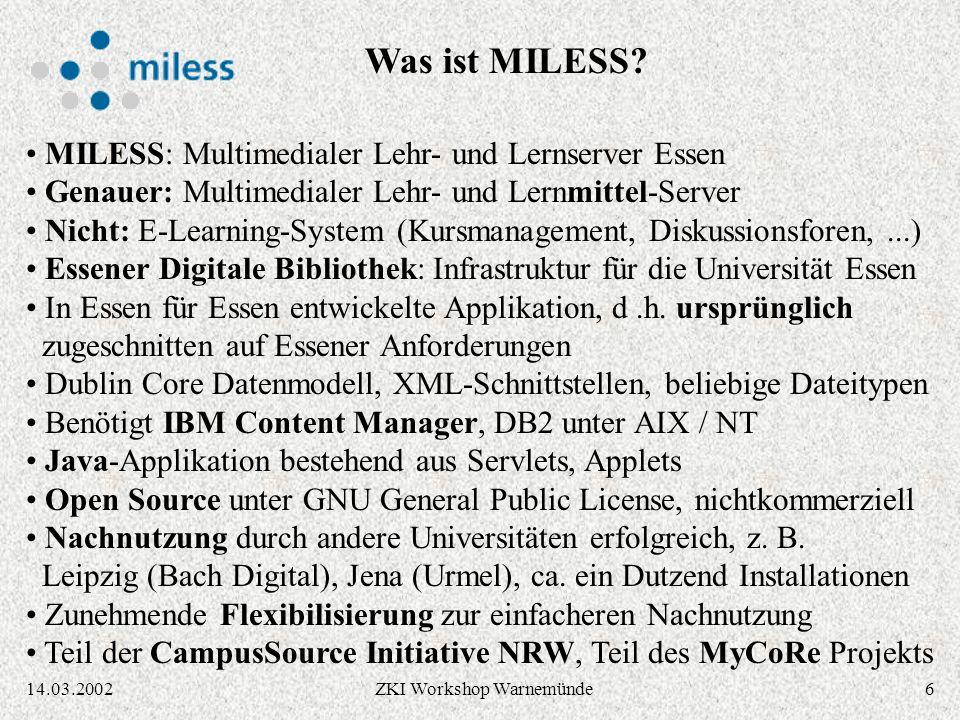 2614.03.2002ZKI Workshop Warnemünde Ausgabe via XML / XSL-Stylesheets