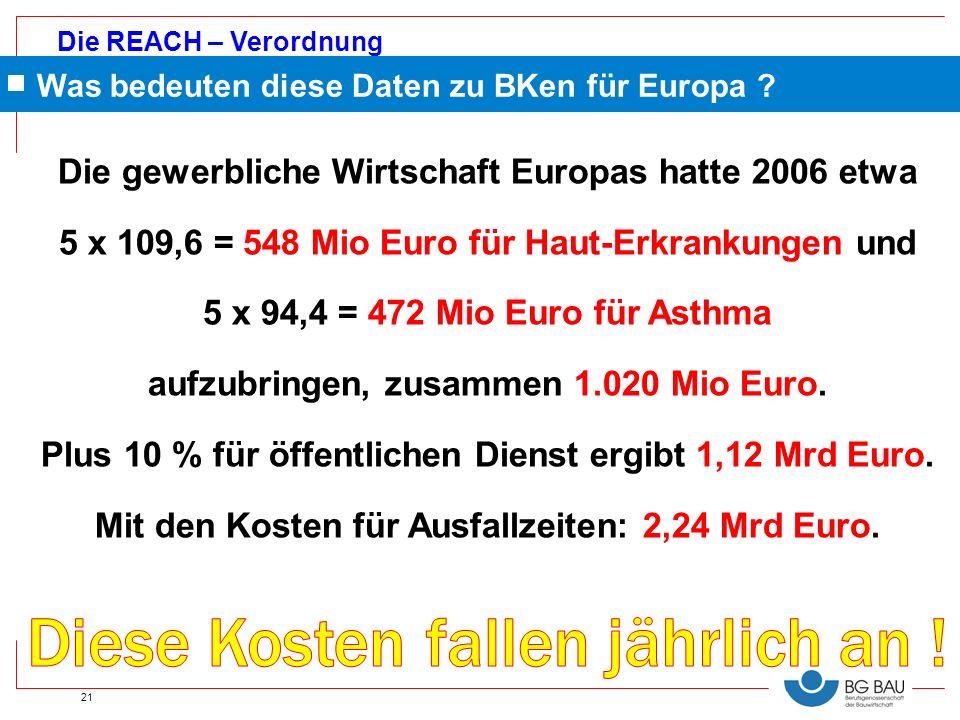 Die REACH – Verordnung 21 Was bedeuten diese Daten zu BKen für Europa ? Die gewerbliche Wirtschaft Europas hatte 2006 etwa 5 x 109,6 = 548 Mio Euro fü