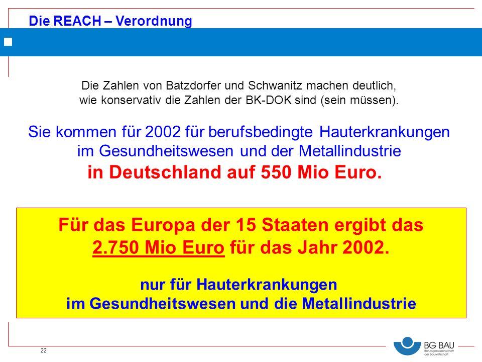 Die REACH – Verordnung 22 Die Zahlen von Batzdorfer und Schwanitz machen deutlich, wie konservativ die Zahlen der BK-DOK sind (sein müssen). Sie komme