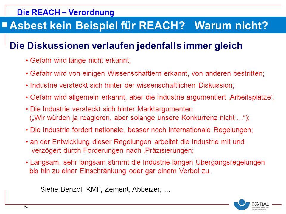 Die REACH – Verordnung 24 Gefahr wird lange nicht erkannt; Gefahr wird von einigen Wissenschaftlern erkannt, von anderen bestritten; Industrie verstec