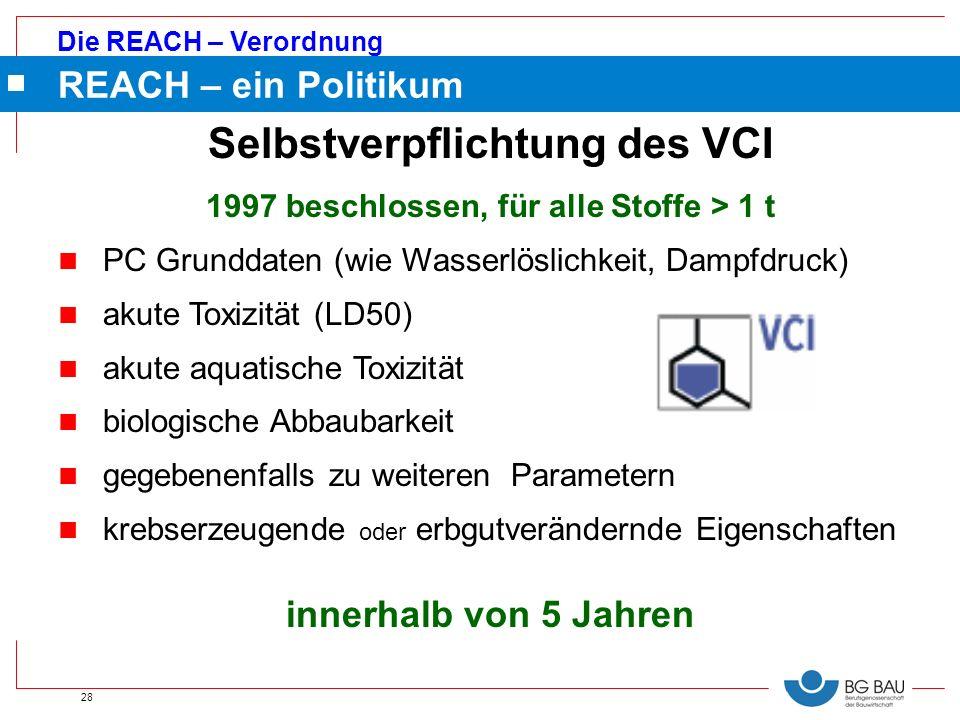 Die REACH – Verordnung 28 Selbstverpflichtung des VCI 1997 beschlossen, für alle Stoffe > 1 t n PC Grunddaten (wie Wasserlöslichkeit, Dampfdruck) n ak
