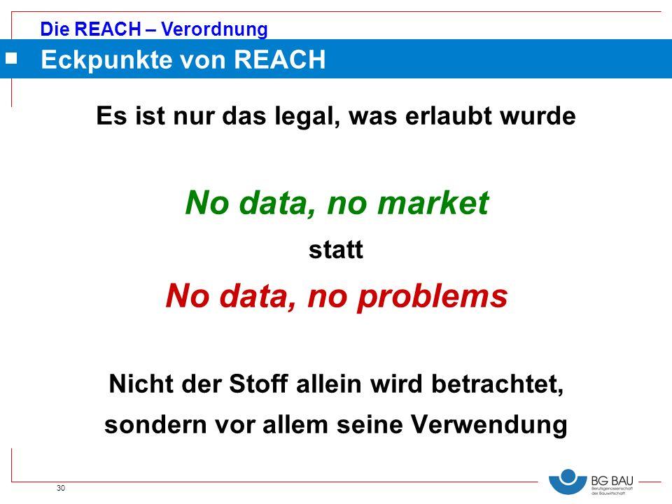 Die REACH – Verordnung 30 Eckpunkte von REACH Es ist nur das legal, was erlaubt wurde No data, no market statt No data, no problems Nicht der Stoff al