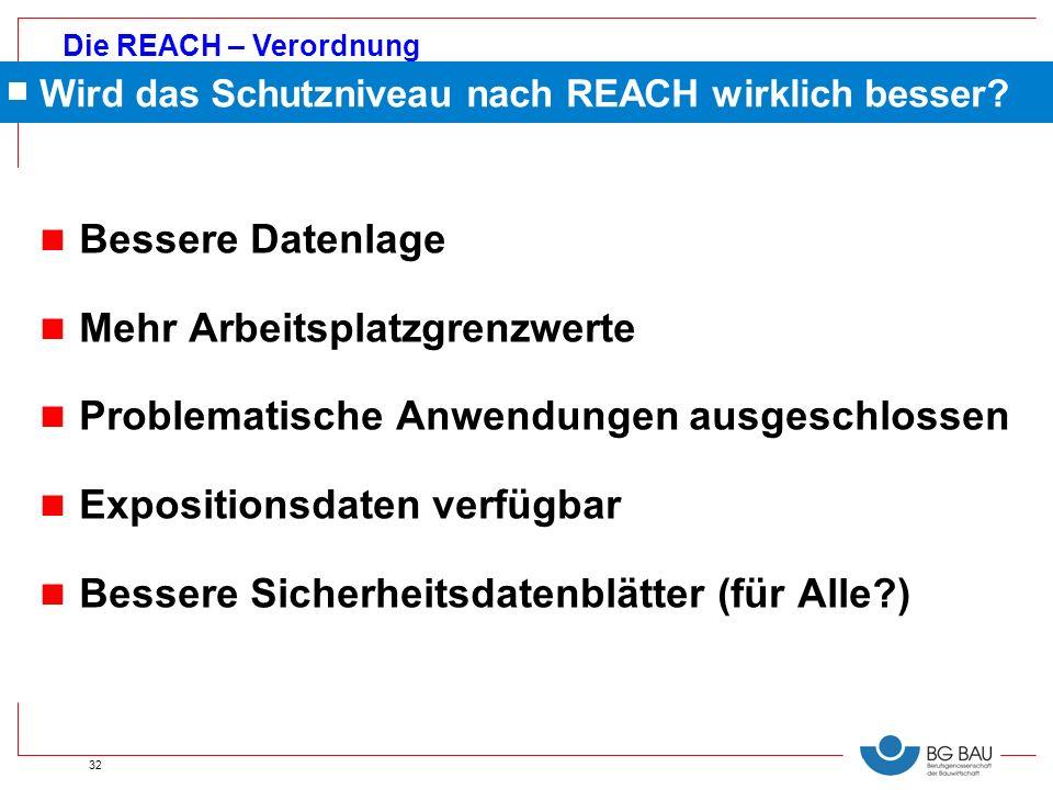 Die REACH – Verordnung 32 Wird das Schutzniveau nach REACH wirklich besser? n Bessere Datenlage n Mehr Arbeitsplatzgrenzwerte n Problematische Anwendu