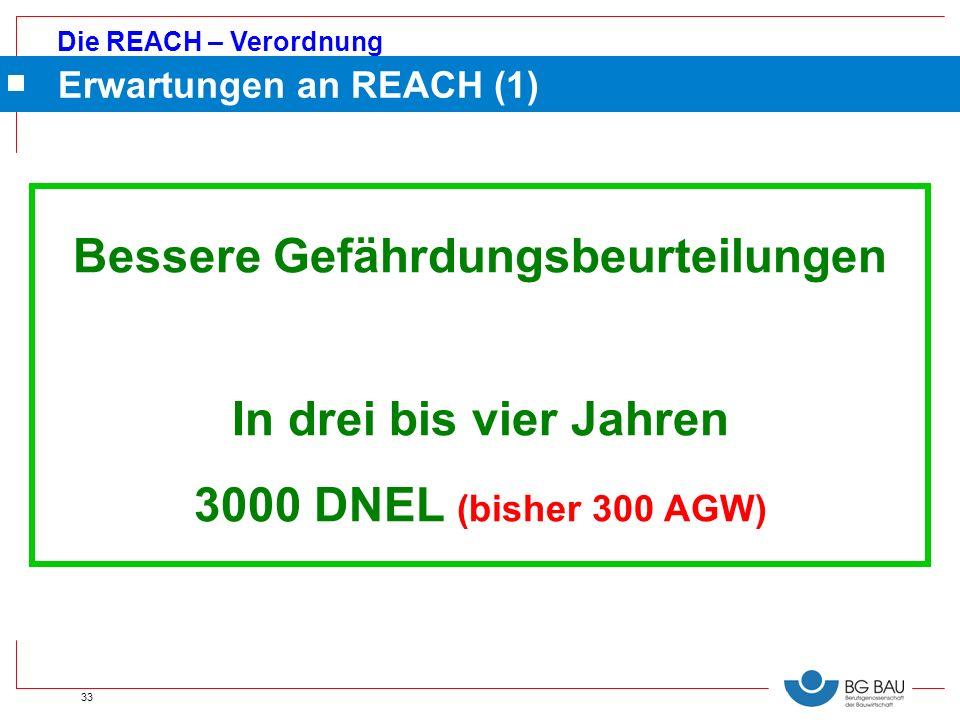 Die REACH – Verordnung 33 Erwartungen an REACH (1) Bessere Gefährdungsbeurteilungen In drei bis vier Jahren 3000 DNEL (bisher 300 AGW)