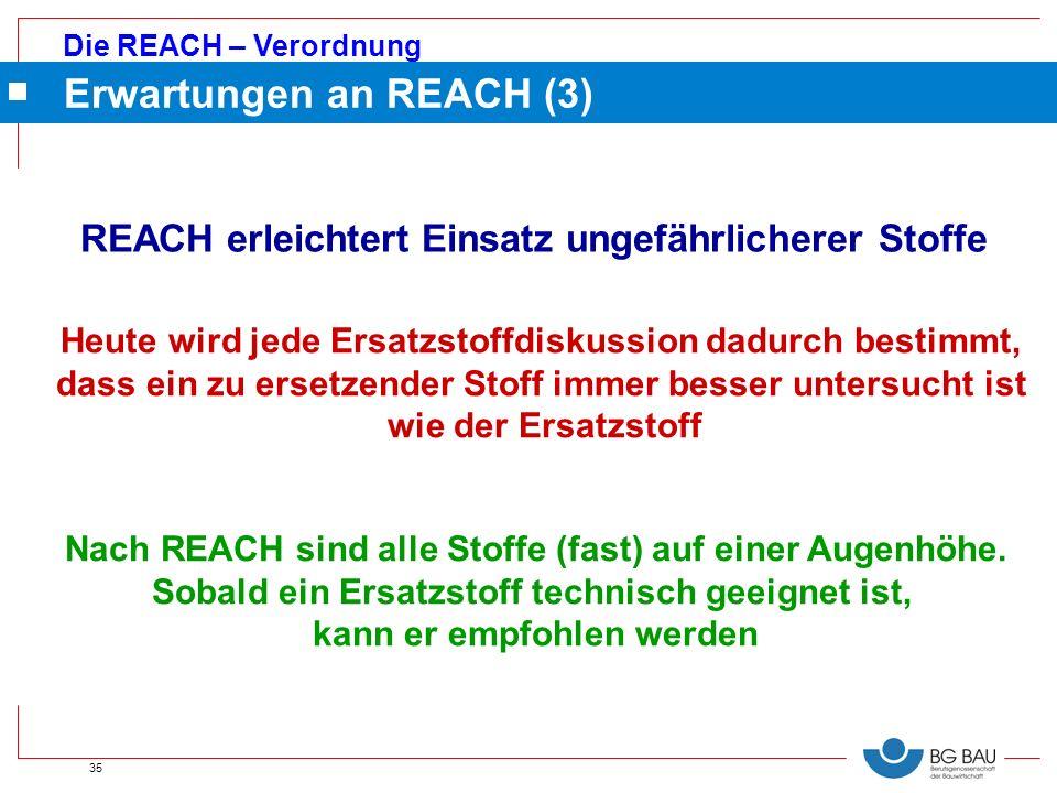 Die REACH – Verordnung 35 Erwartungen an REACH (3) REACH erleichtert Einsatz ungefährlicherer Stoffe Heute wird jede Ersatzstoffdiskussion dadurch bes