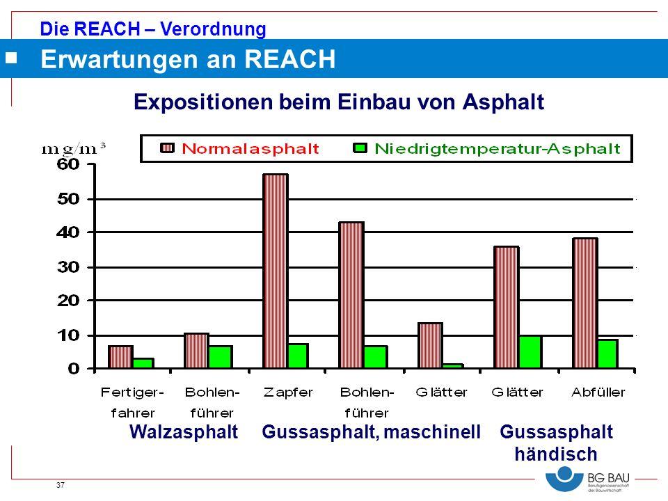 Die REACH – Verordnung 37 Erwartungen an REACH Walzasphalt Gussasphalt, maschinell Gussasphalt händisch Expositionen beim Einbau von Asphalt