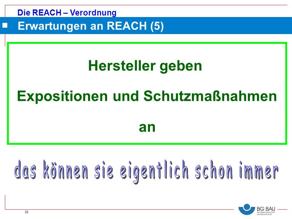 Die REACH – Verordnung 38 Erwartungen an REACH (5) Hersteller geben Expositionen und Schutzmaßnahmen an
