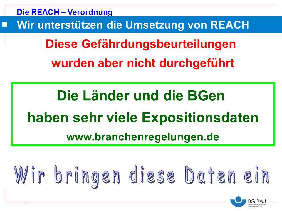 Die REACH – Verordnung 40 Wir unterstützen die Umsetzung von REACH Die Länder und die BGen haben sehr viele Expositionsdaten www.branchenregelungen.de