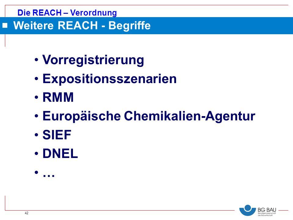 Die REACH – Verordnung 42 Vorregistrierung Expositionsszenarien RMM Europäische Chemikalien-Agentur SIEF DNEL … Weitere REACH - Begriffe