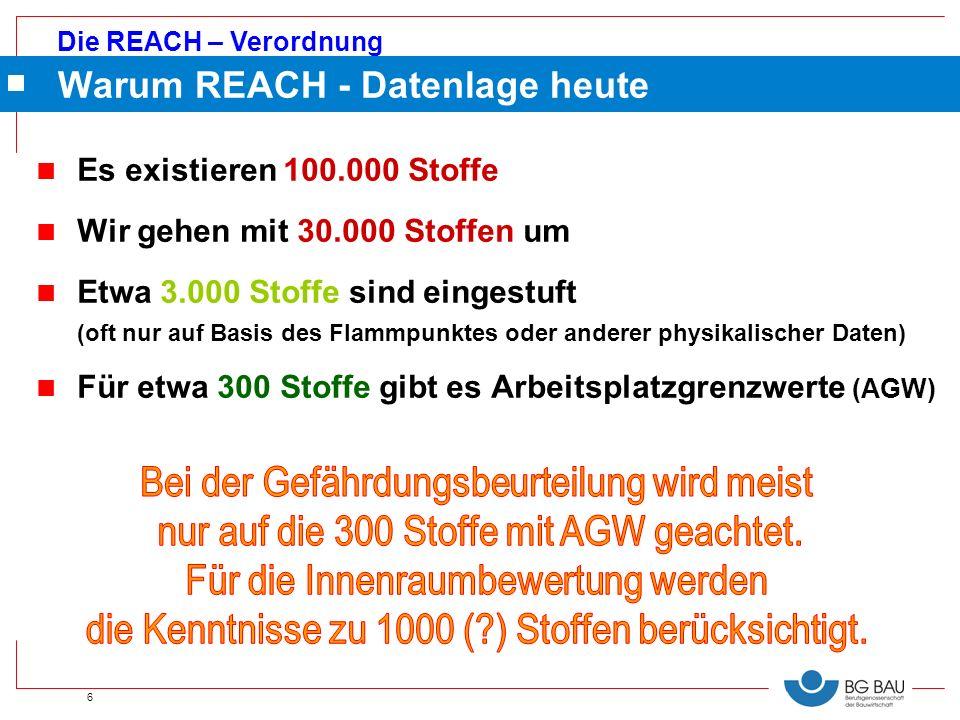 Die REACH – Verordnung 6 n Es existieren 100.000 Stoffe n Wir gehen mit 30.000 Stoffen um n Etwa 3.000 Stoffe sind eingestuft (oft nur auf Basis des F