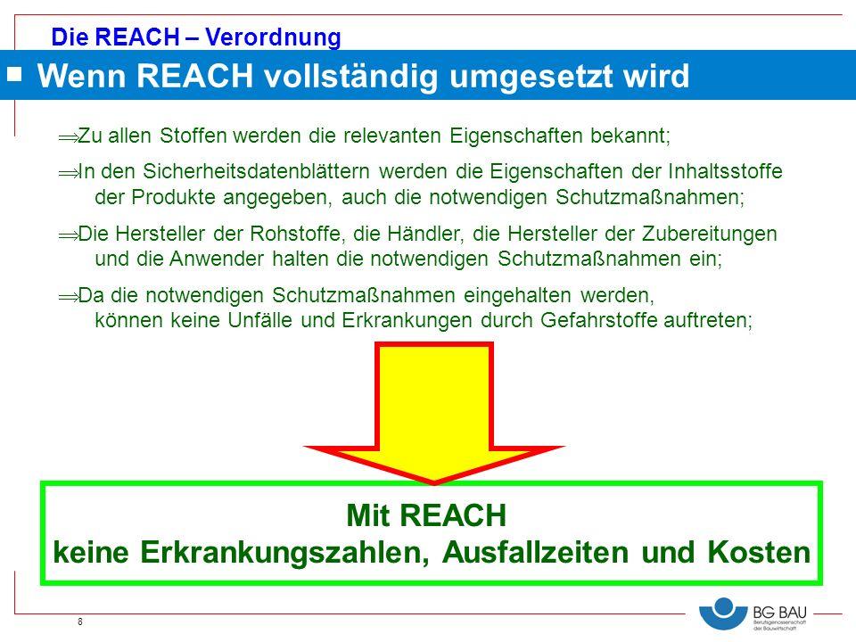 Die REACH – Verordnung 8 Mit REACH keine Erkrankungszahlen, Ausfallzeiten und Kosten Zu allen Stoffen werden die relevanten Eigenschaften bekannt; In
