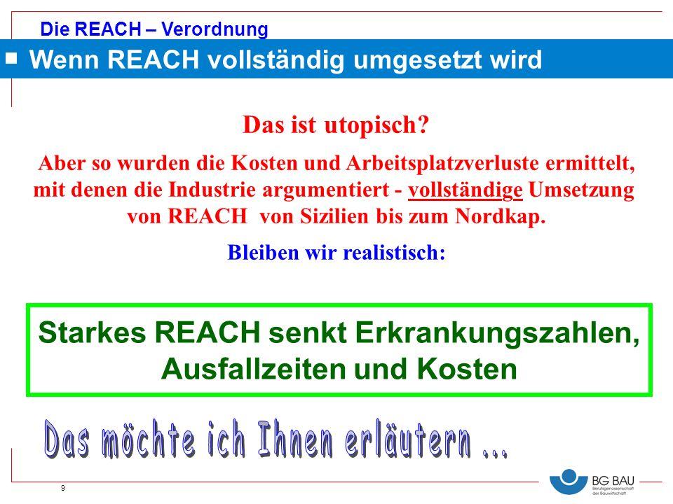 Die REACH – Verordnung 9 Starkes REACH senkt Erkrankungszahlen, Ausfallzeiten und Kosten Das ist utopisch? Aber so wurden die Kosten und Arbeitsplatzv