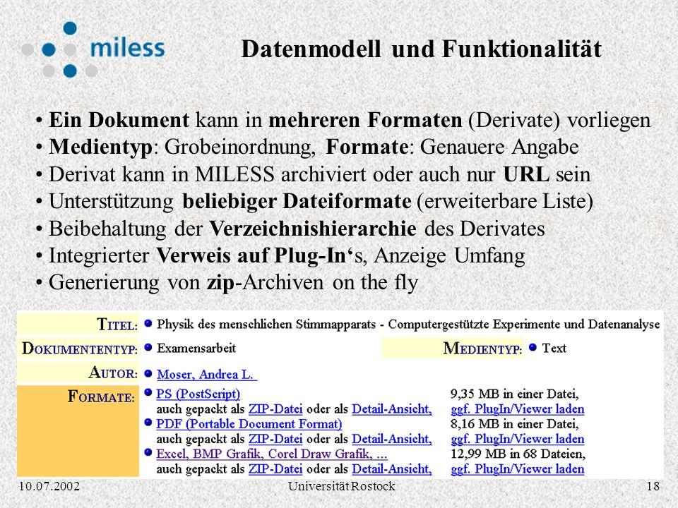 1710.07.2002Universität Rostock Navigation durch Klassifikationsbäume