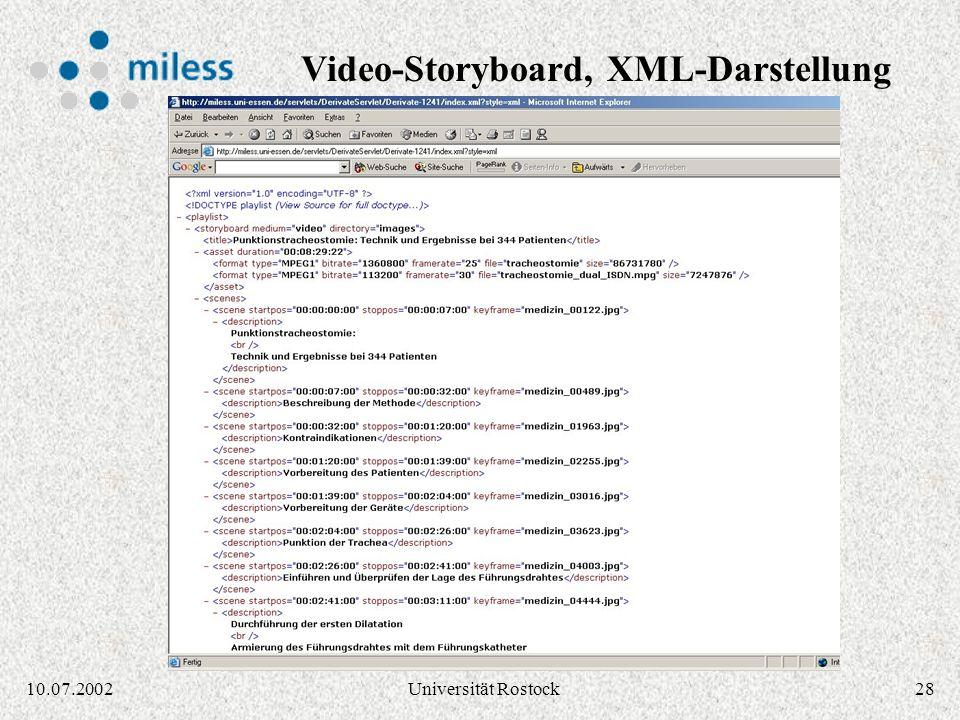 2710.07.2002Universität Rostock Video-Storyboard via XSL-Stylesheet