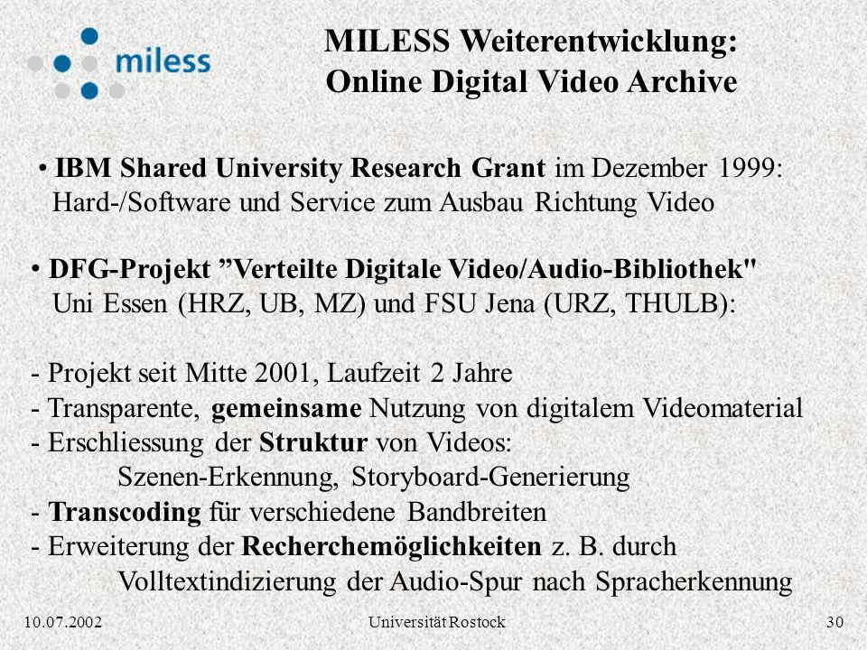 2910.07.2002Universität Rostock Video-Storyboard, Bearbeitung mit Storyboard-Servlet