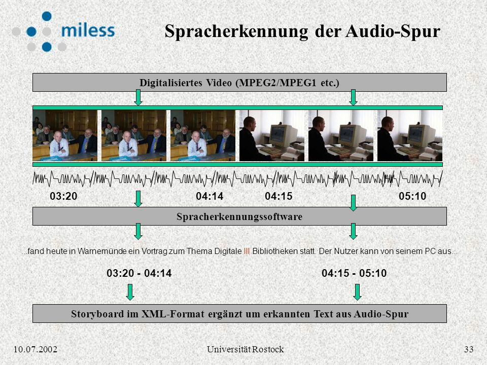 3210.07.2002Universität Rostock Generierung eines Storyboards 03:2004:1505:1004:14 03:20 - 04:1404:15 - 05:10 Scene change detection / Keyframe extrac