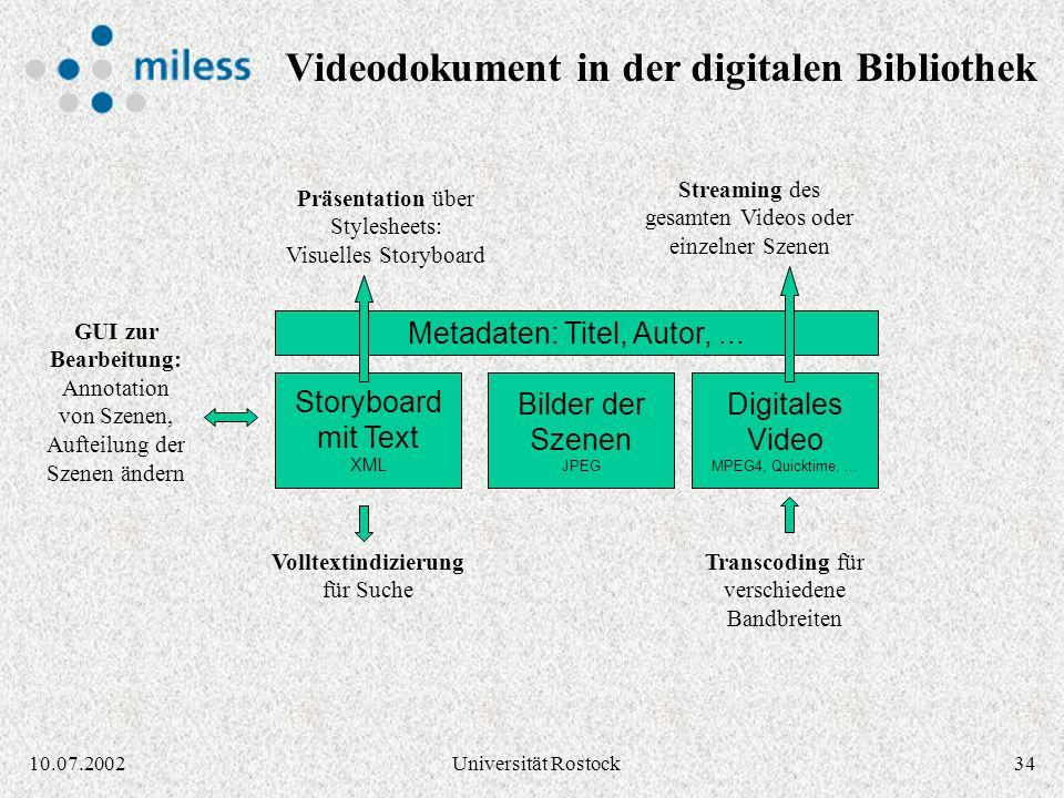 3310.07.2002Universität Rostock Spracherkennung der Audio-Spur 03:2004:1505:1004:14 03:20 - 04:1404:15 - 05:10 Spracherkennungssoftware Storyboard im