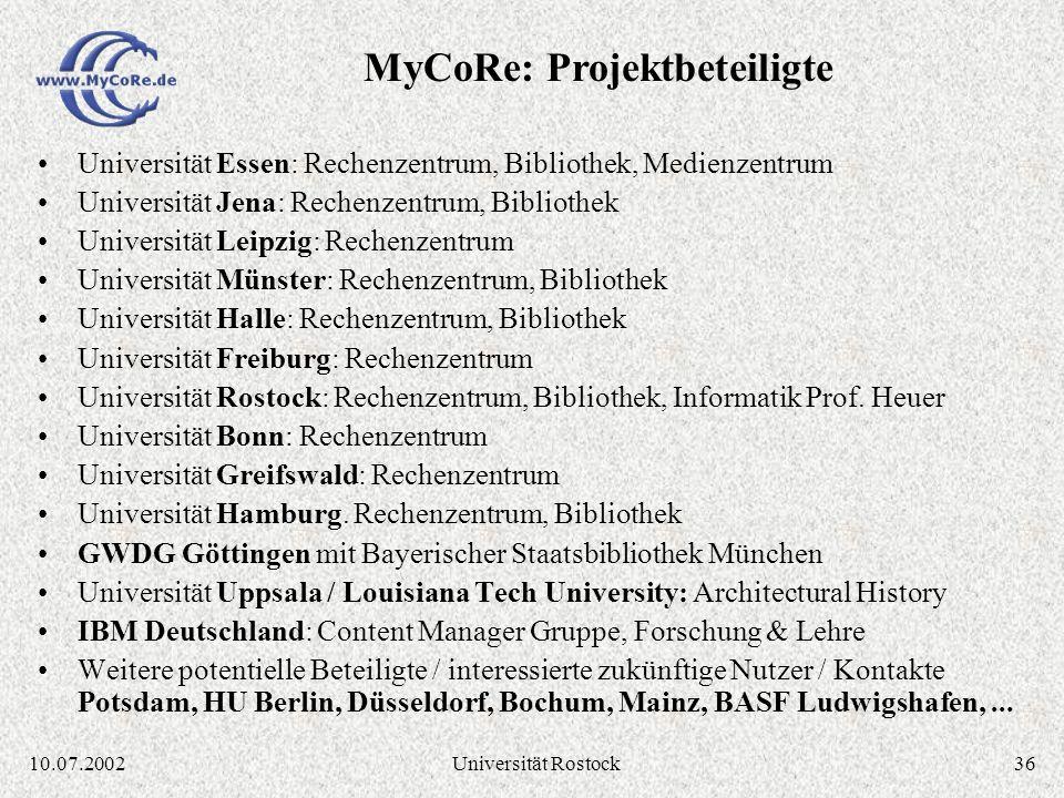 3510.07.2002Universität Rostock Essener Lösung MILESS ist spezialisiert auf die Essener Anforderungen (z. B. in Datenmodell, Graphische Oberflächen) M