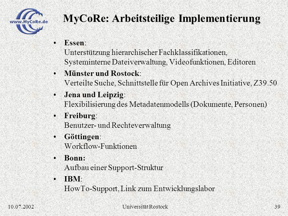 3810.07.2002Universität Rostock Quellcode-Verwaltung über CVS Repository