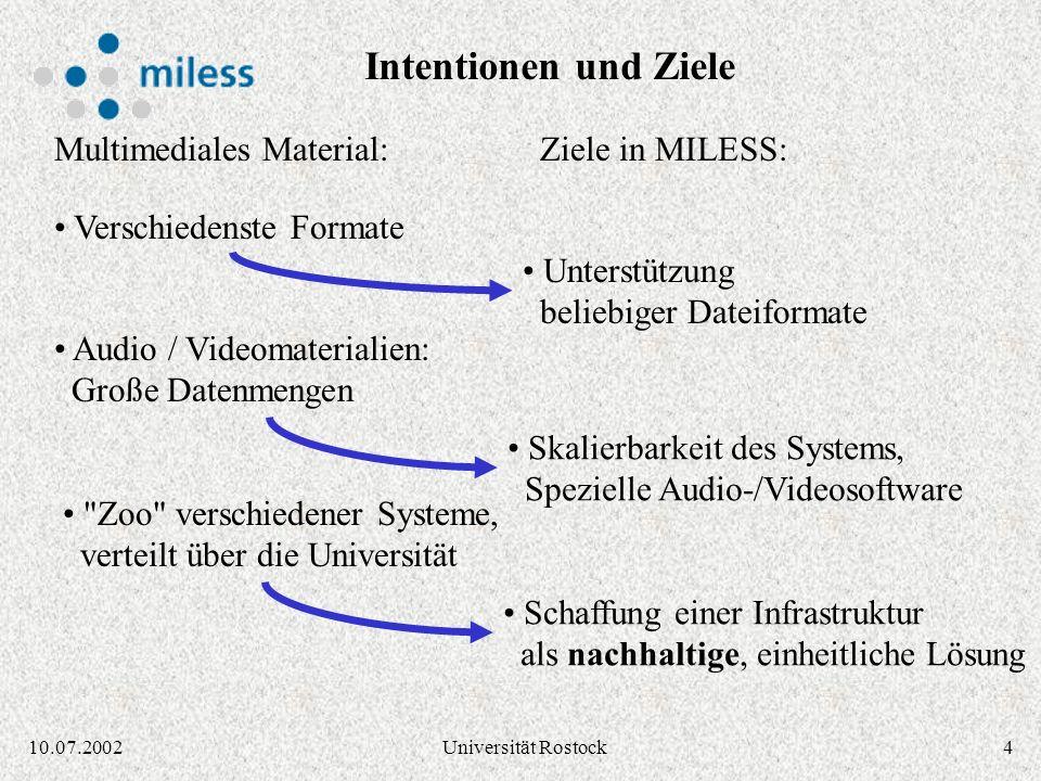 310.07.2002Universität Rostock oft flüchtig, Verfügbarkeit nicht garantiert Lehr- und Lernmaterial istZiele des MILESS Projektes: Archivierung und Sic