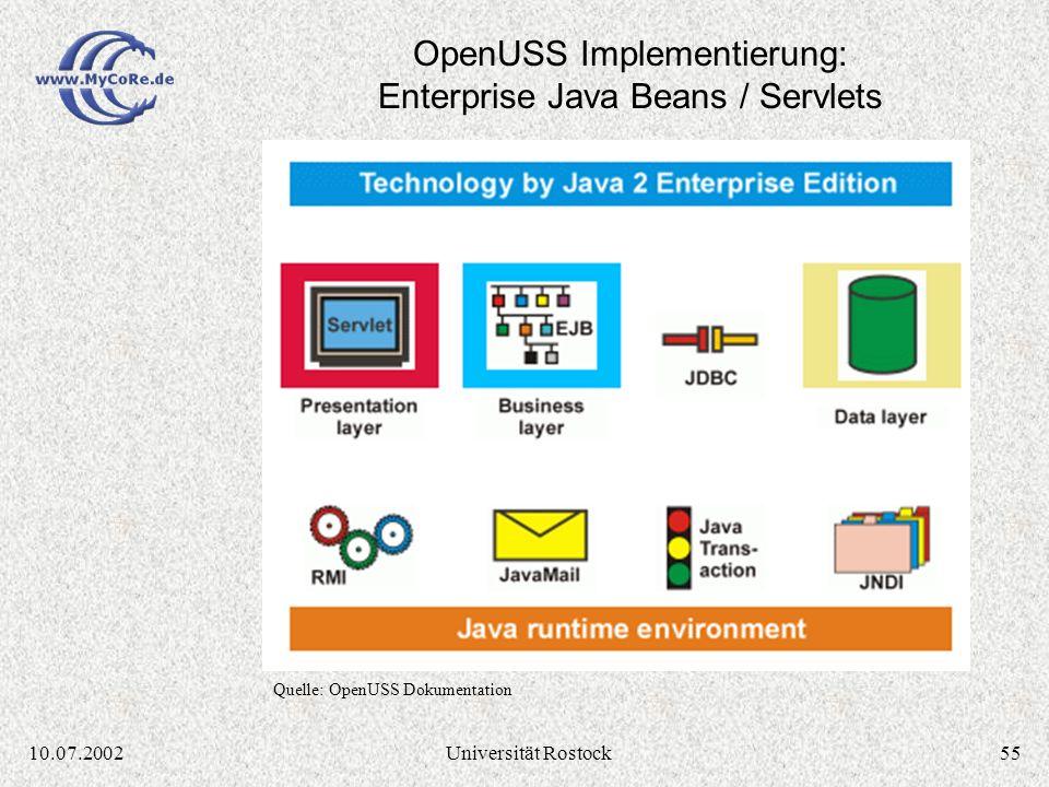 5410.07.2002Universität Rostock OpenUSS Installationen: Application Service Provider Quelle: OpenUSS Dokumentation