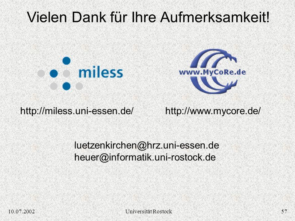 5610.07.2002Universität Rostock OpenUSS Komponenten: Foundation / Extension Components Quelle: OpenUSS Dokumentation