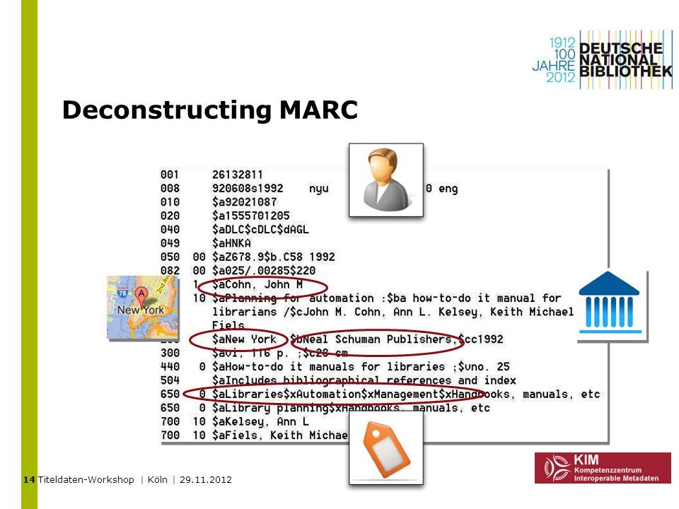 Titeldaten-Workshop | Köln | 29.11.2012 Deconstructing MARC 14