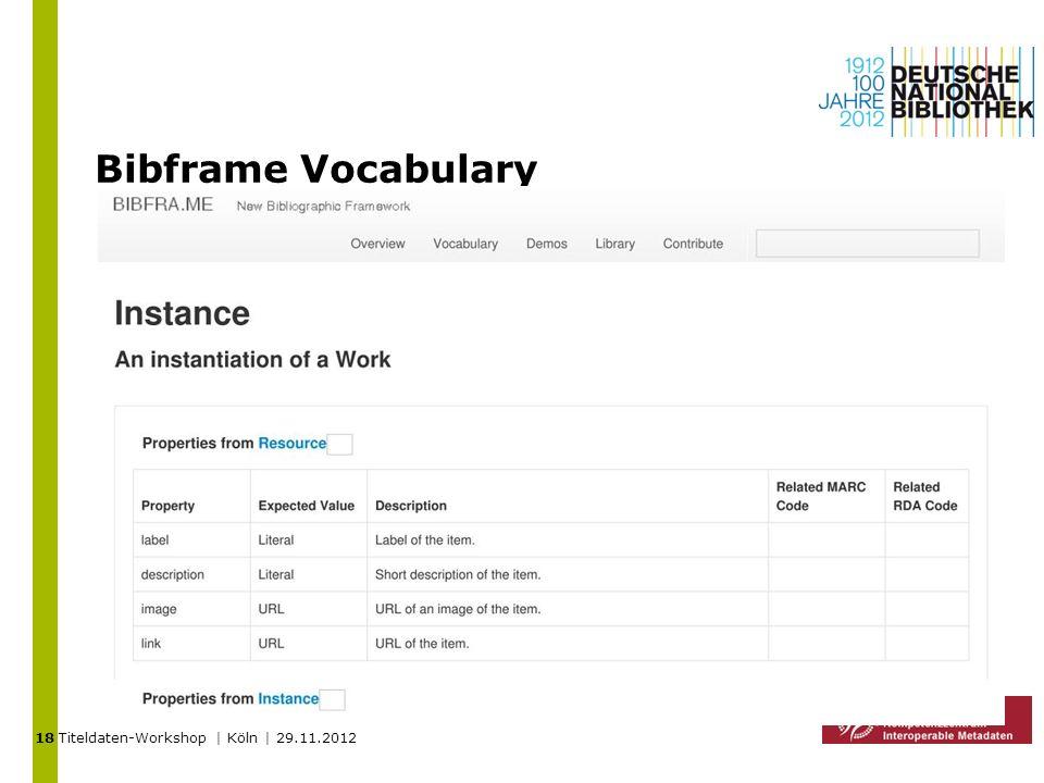 Titeldaten-Workshop | Köln | 29.11.2012 Bibframe Vocabulary 18