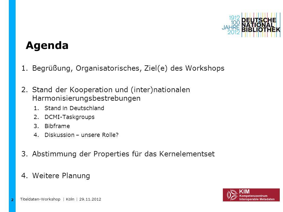 Agenda 2 Titeldaten-Workshop | Köln | 29.11.2012 1.Begrüßung, Organisatorisches, Ziel(e) des Workshops 2.Stand der Kooperation und (inter)nationalen H