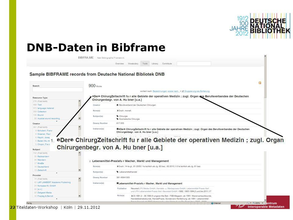 Titeldaten-Workshop | Köln | 29.11.2012 DNB-Daten in Bibframe 22