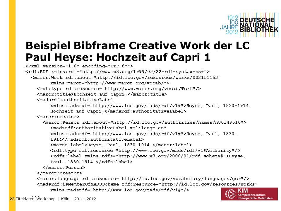 Titeldaten-Workshop | Köln | 29.11.2012 Beispiel Bibframe Creative Work der LC Paul Heyse: Hochzeit auf Capri 1 Hochzeit auf Capri, Heyse, Paul, 1830-