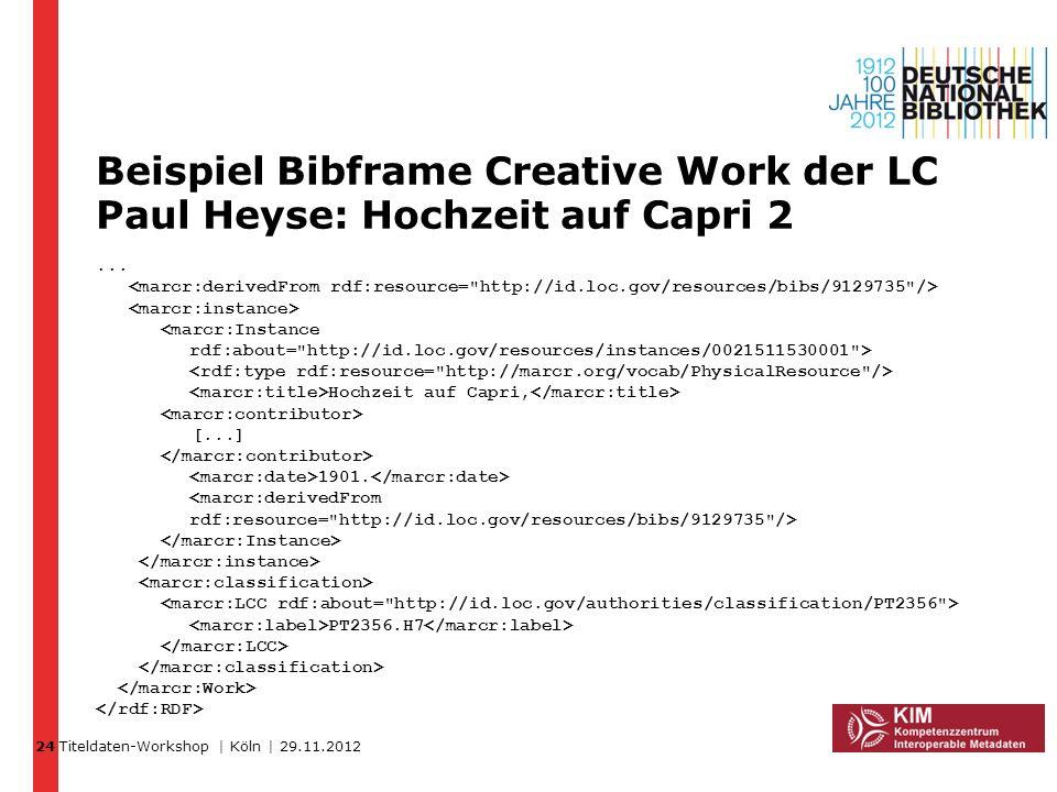Titeldaten-Workshop | Köln | 29.11.2012 Beispiel Bibframe Creative Work der LC Paul Heyse: Hochzeit auf Capri 2... Hochzeit auf Capri, [...] 1901. PT2