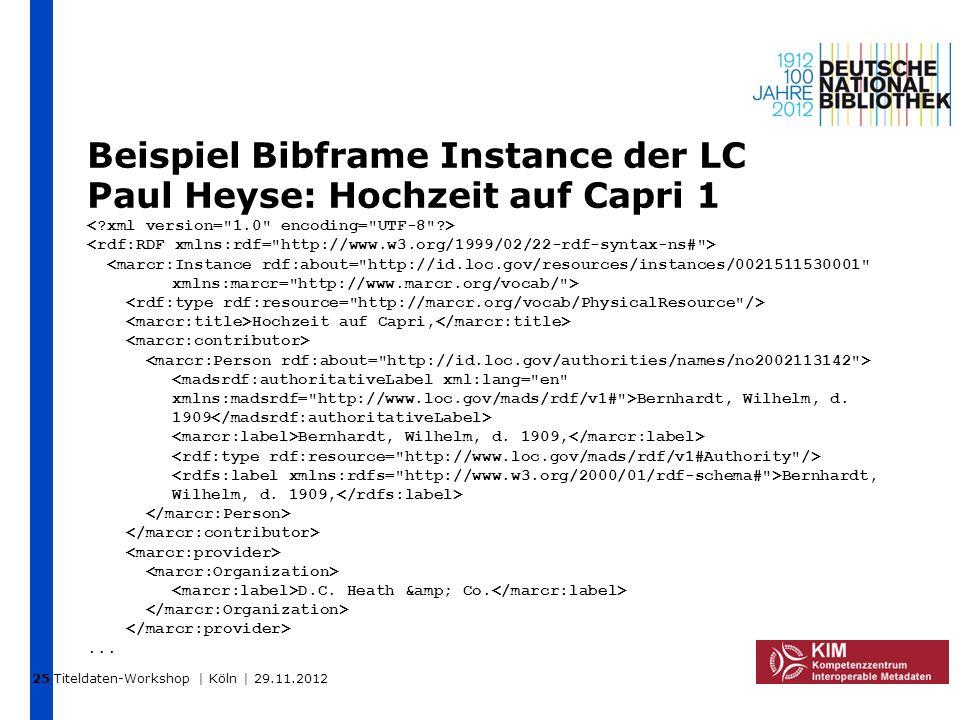 Titeldaten-Workshop | Köln | 29.11.2012 Beispiel Bibframe Instance der LC Paul Heyse: Hochzeit auf Capri 1 Hochzeit auf Capri, Bernhardt, Wilhelm, d.