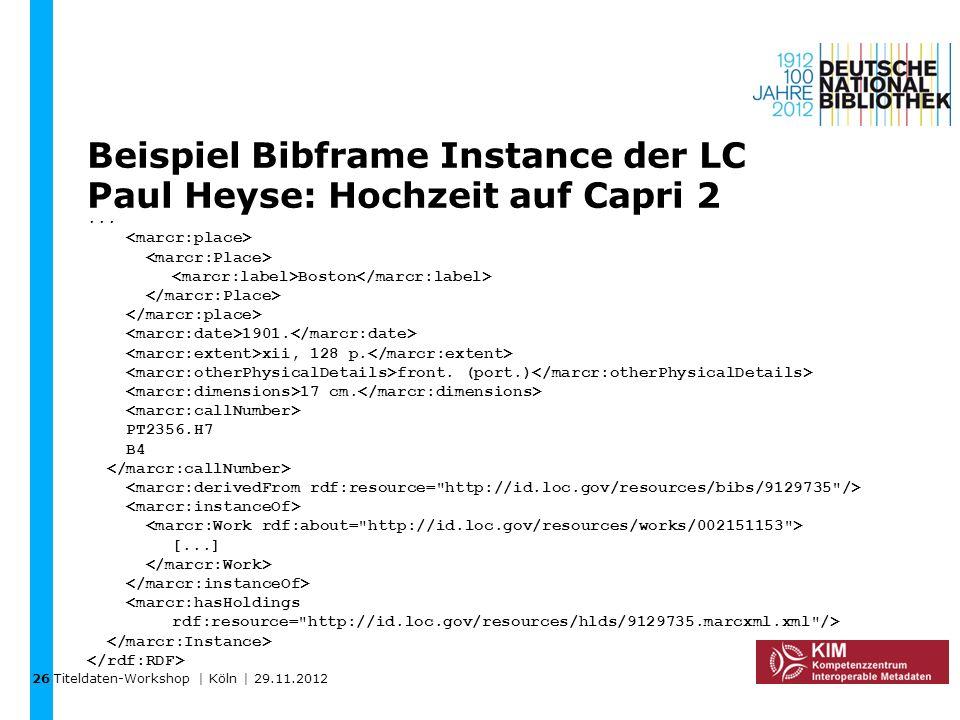 Titeldaten-Workshop | Köln | 29.11.2012 Beispiel Bibframe Instance der LC Paul Heyse: Hochzeit auf Capri 2... Boston 1901. xii, 128 p. front. (port.)